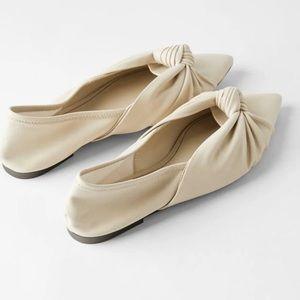 Zara White Knotted Soft Ballerina Flats Size 36